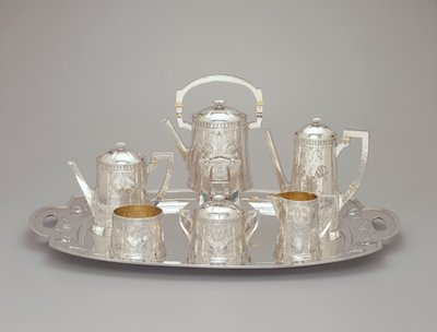 Hot water kettle and stand from the coffee and tea service for Rockledge